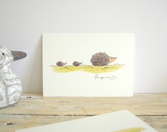 "Postcard ""Hedgehog family"" - ""Hedgehog MOM and cubs""-A6 Watercolour Illustration"