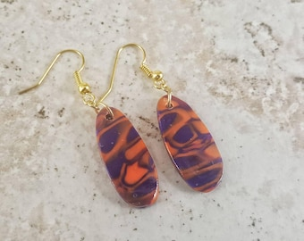 Purple and Orange earrings, Abstract Dangle earrings, Polymer Clay earrings, Women's earrings, gifts under 15, gift idea for her