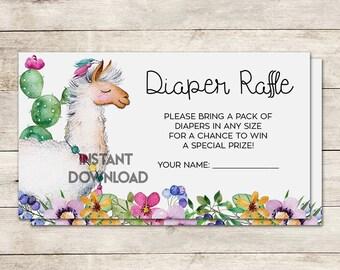 Diaper Raffle Ticket, Baby Shower Diaper Raffle, Llama Baby Shower, Fiesta Baby Shower, Baby Shower Game, Oh La Llama, Printable No. 1011