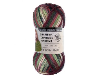 HOLIDAY Charisma Loops and Threads. A bulky yarn with a mix of old time Christmas Colors; Shades of Mauve, Green, and Brown. Acrylic yarn. ±