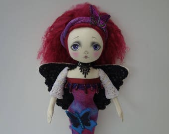 RESERVED-OOAK- Art doll-Butterfly girl-Spirit doll - Fabric -Cloth- Doll Artist Cheryl Austin