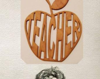 Teacher / Apple Wood Cut Out - Laser Cut