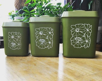 Vintage Avocado Green Canister Set with Flowers