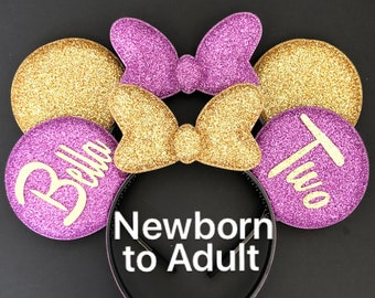 Rapunzel Minnie Ears,Purple Minnie Ears,Pink Minnie Ears,Birthday Ears,Tangled,Personalized Mickey Ears,Minnie Ears Elastic Headband
