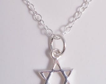 Silver Star of David charm necklace sterling silver necklace pendant charm