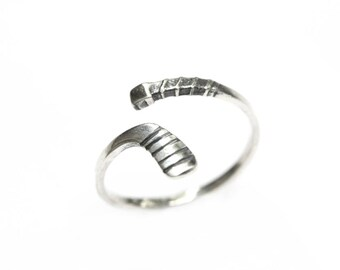 Adjustable Sterling Silver Hockey Stick Ring, Hockey Ring, Hockey Jewelry