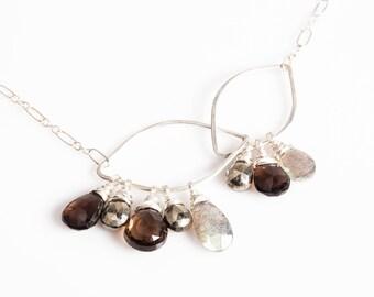 Treca necklace in Smokey Quartz & Labradorite, hammered silver, gemstone, asymmetrical, petals