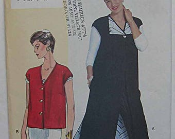 Easy Misses' Vest in 2 Lengths, Today's Fit by Sandra Betzina Vogue 7065 Sewing Pattern UNCUT Sizes A-B-C, Bust 32-36""