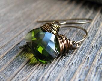 Green Crystal Earrings Wire Wrapped Crystal Briolettes Brass Minimalist Fresh Modern Ear Candy
