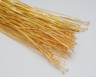 50 Head pins shiny gold 3 inches or 7.62cm 22 gauge A5372FN