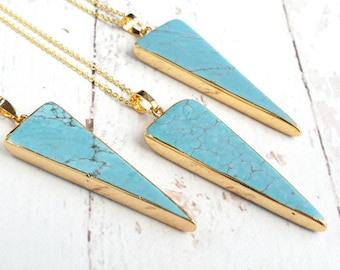 Turquoise Jewelry Necklace-Long Layering Necklace-Long Turquoise Necklace Gift for Women-Turquoise Triangle Necklace-Boho Necklace Long