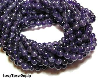 1 Strand 6mm Natural Amethyst Beads, Gemstone Beads, Semi Precious Stone Beads, Purple Beads, Round Beads