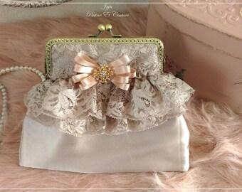 Shabby chic handbag, mini handbag shabby romantic lace and satin adorned with a jewelry