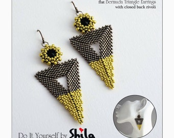 flat Bermuda Triangle Earrings Step by step INSTANT download Pdf beading PATTERN #12