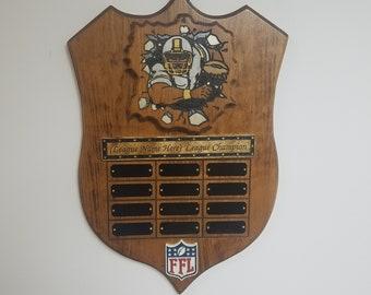 Fantasy Football League Champion Traveling Trophy Plaque