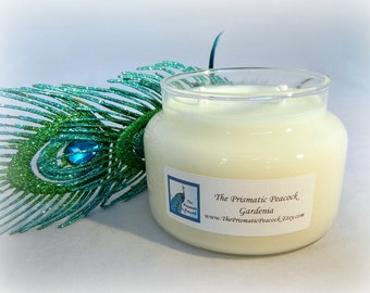 Gardenia Scented Soy Candle 12 oz Apothecary Jar White
