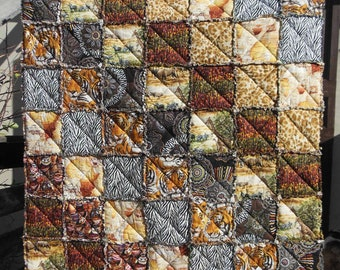 "PDF quilt pattern ""Savane"", patchwork plaid rag quilt"