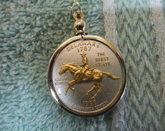 Coin Bezel Pendant Delaware Statehood Quarter Jewelry - Gold and Silver Necklace Pendant