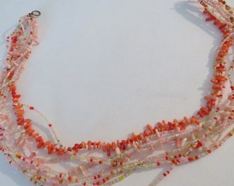 Peach coral seed bead necklace