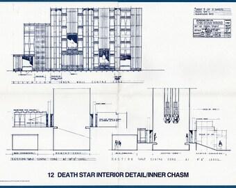 1977 DEATH STAR Interior Detail Inner / Chasm Star Wars Vintage Blueprint Poster