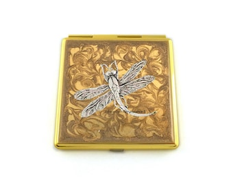 Silver Dragonfly Square Compact Mirror Inlaid in Hand Painted Enamel Art Nouveau Inspired with Color and  Personalized Options