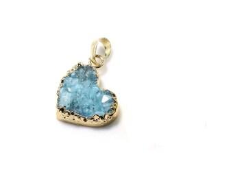 Heart Druzy Pendant, Blue Natural Druzy Charm, Agate Heart Pendant, Blue Heart Pendant, Natural Ice Quartz Druzy Pendant  (1-73)