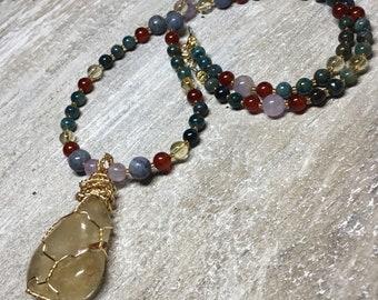 Brigid Necklace Dragonfae Power Necklace Citrine Amethyst Carnelian Apatite Goddess Brigid