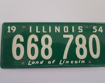 """Vintage 1954 Wheaties Cereal premium mini license plate State of Illinois  Land of Lincoln measures 4 7/8"""" x 2"""""""