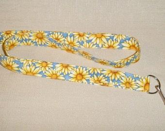 Yellow daisies on blue - handmade fabric lanyard
