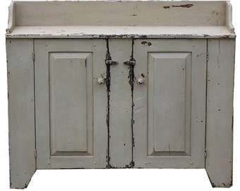 Primitive farmhouse rustic furniture painted jelly cupboard washstand country cabinet colonial dry sink distressed wash stand