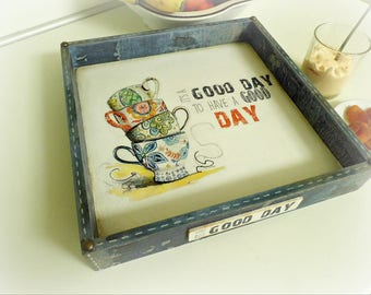 Coffee table decorative tray, Serving tray wooden, decoupage tray, ottoman tray, breakfast tray,wedding gift,anniversary gift, housewarming