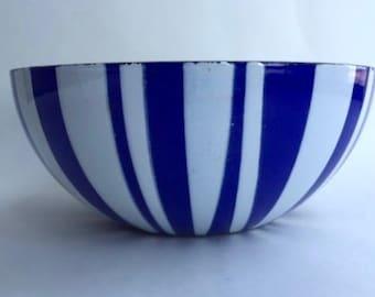 Catherine Holm Enamel Blue Striped Serving Bowl