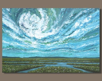 cloud painting, large sky painting, abstract landscape painting, marsh painting, abstract marsh, Nova Scotia art, 24x36, east coast wetlands