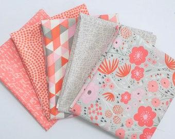 Fat Quarter Bundle Ava Rose by Deena Rutter for Riley Blake Designs- 5 Fabrics