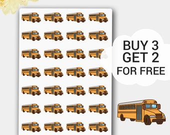 School Bus  Planner Stickers in Yellow-Orange