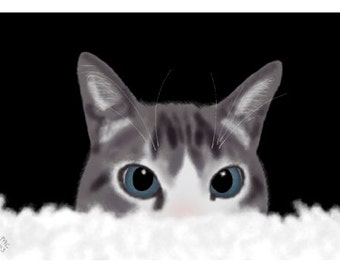 Cat Greeting Card, Blank, Bailey Hiding Design No A6035