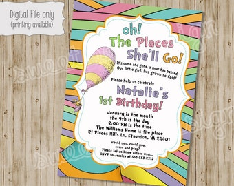 Oh the Places You'll Go Invitation, Oh the Places You'll Go Birthday Invitation, Boy Birthday Invitation, Girl Birthday Invitation