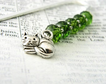 Cat Bookmark with Green Glass Beads Shepherd Hook Steel Bookmark Silver Color