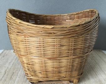 Vintage bamboo planter   large bamboo basket   vintage bamboo basket   rattan basket   coastal decor   beach decor   planter basket