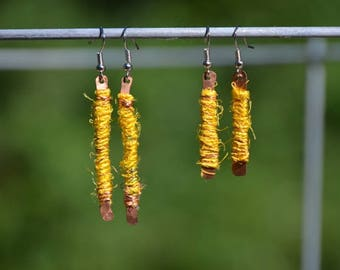 Handmade earrings with recycled copper and recycled sari silk yarn
