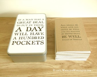 Quote Notebook Gift Set, Kraft Journal Set & Storage Tin | Literary Bookish Gift for Writer Office Stationery Set Nietzsche Philosophy Quote