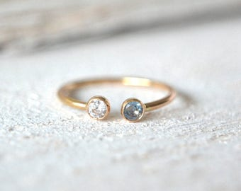 Mother's Ring- 14k SOLID Gold Personalized Ring- Two Stone Ring, Double Stone Ring, Mothers Ring,Double Gemstone Ring, Gold Birthstone Ring