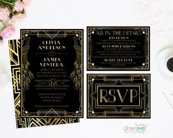 Art Deco Wedding Invitation. Great Gatsby Wedding Invitation