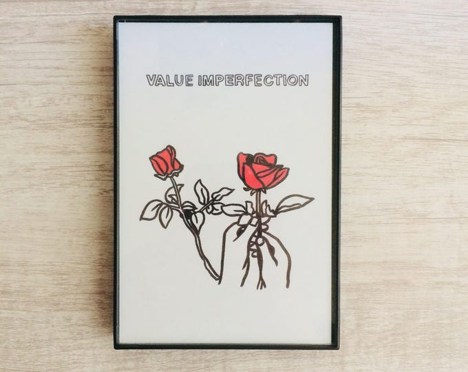 Value Imperfection, 4x6 inch print, ink & crayon, Basic Forms, chance operations, art, drawing, minimalist, flowers, hands