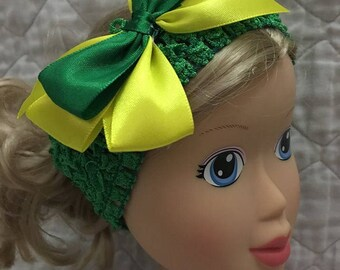 New Oregon Ducks baby-toddler elastic headband w/bow (colors are green and yellow)  GO DUCKS!   Fast shipping