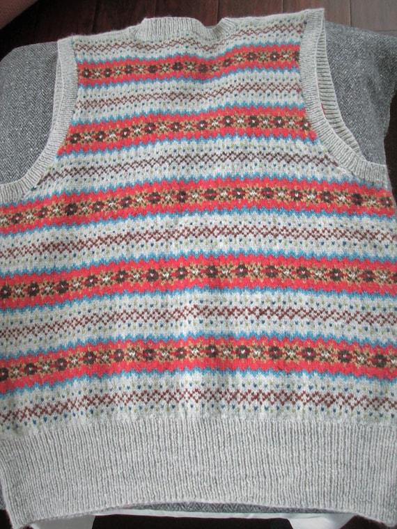 Hand Knit Vest Fair Isle Men Tank Top New Pure Wool Slipover