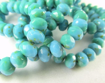 Light Aqua Green Turquoise Czech Glass 8mm x 6mm Faceted Rondelle Jewelry Beads (10)