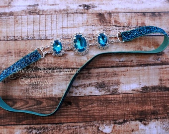 Turquoise Rhinestone Headband ~ Luxe Couture Rhinestone Headband- Rhinestone Headband- Turquoise Headband- Newborn Headband- Photo Prop