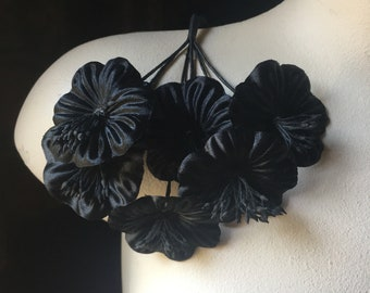 BLACK Flowers Satin Millinery Flower YoYos for Boutonnieres, Bridal, Costumes  MF 84bl