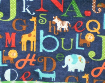 Flannel Blue Letters/Animals Pillowcase